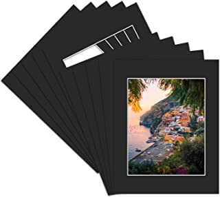 Golden State Art, Acid Free, Pack of 50 11×14 Black Picture Mats Mattes with White..