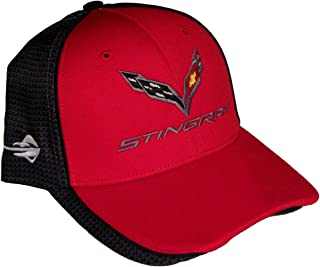 Gregs Automotive Stingray Corvette C7 Carbon Fiber Print Red/Gray Logo Hat Cap Chevrolet - Bundle with Driving Style Decal