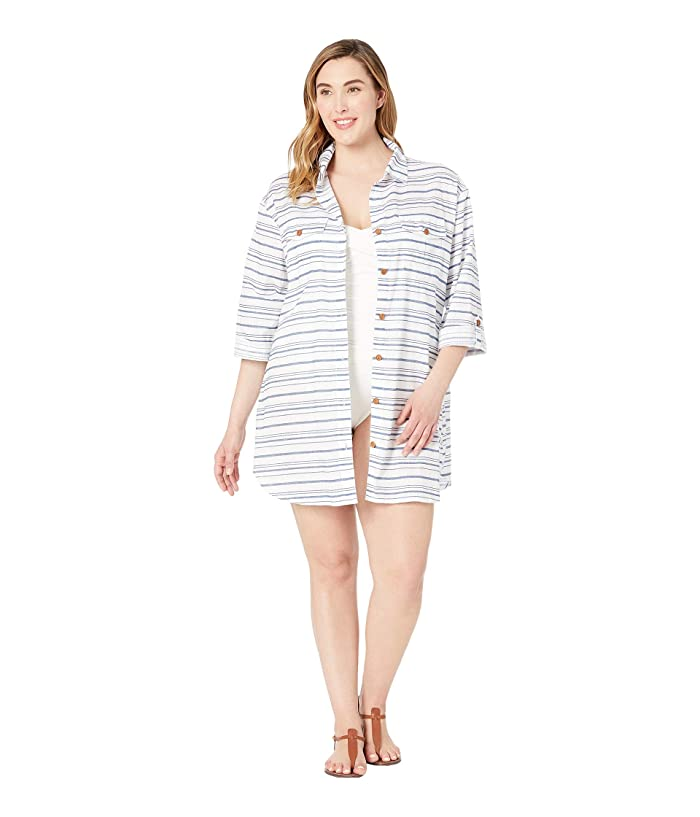 DOTTI Plus Size Baja Stripe Shirtdress Cover-Up (Denim) Women