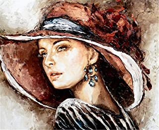 DIY oil painting kit, paint by numbers kit for kids and adults - Elegant lady 16x20 inches (Without frame)