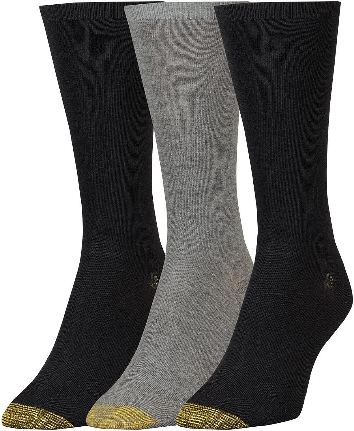 Gold Toe Women's Non-Binding Flat Knit Crew Socks|,| 3-Pairs