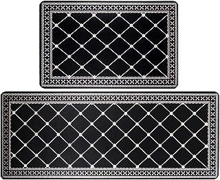 "HEBE Anti Fatigue Kitchen Rug Sets 2 Piece Non Slip Kitchen Floor Mats 17""x48""+17""x28"" Cushioned Comfort Standing Mat Wate..."