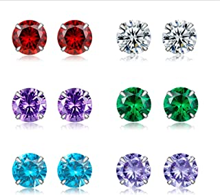 Loveliome Cubic Zirconia Stud Earrings, Round Cut Birth Stone S925 Sterling Silver 18K Gold Plated 6 Pairs