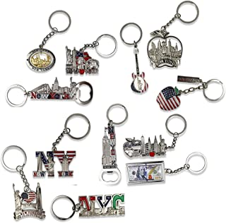 12 NYC Keychain Souvenir Collection – Includes Empire State, Freedom Tower, Statue Of Liberty, USA Flag, NY Cab, And More - Metal - Bonus Race Day Car