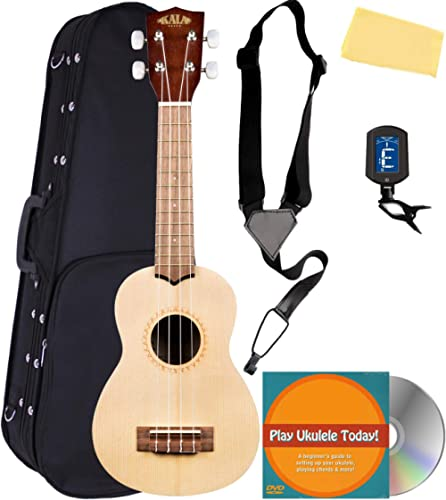 Kala KA-15S-S Satin Spruce Soprano Ukulele Bundle with Hard Case, Tuner, Strap, Fender Play Online Lessons, Austin Ba...