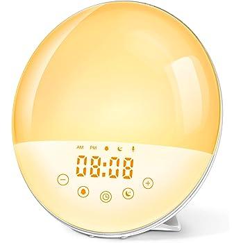 Wake Up Light Luce Sveglia da Comodino Funzione di Registrazione 9 Suoneria Lampada da Comodino 30 Livelli di Luminosità FM Radio 7 Colori Atmosphere Light Simulazione di Alba Tramonto per Regalo