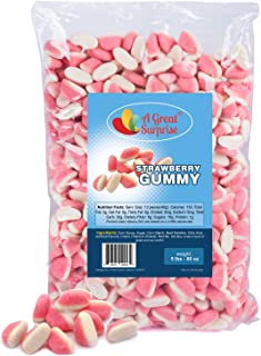 Gummy Candy - Strawberry Candy - Pink Candy - Strawberry Puffs Candy - 5 Pounds