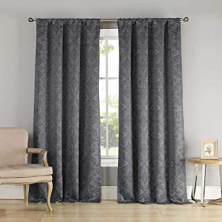 Kelvin Home Fashion Paisley Blackout Darkening Grommet Top Window Curtains Pair Drapes for Bedroom, Living Room-Set of 2 P...