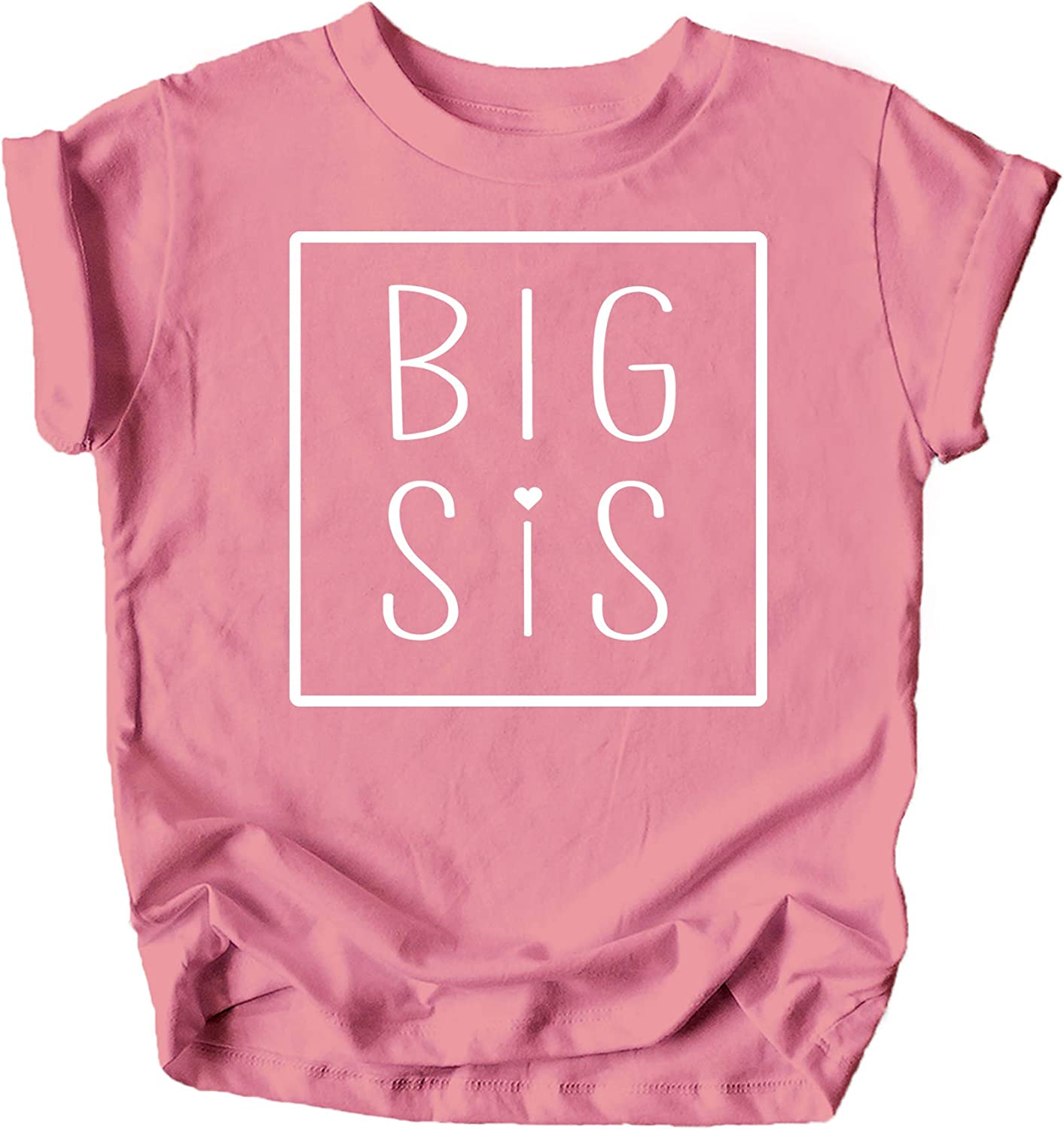 Olive Loves Apple Big Sis Square Sibling Reveal Announcement Shirt for Baby and Toddler Girls Sibling Outfits