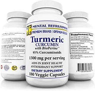 Pure Turmeric Curcumin with Bioperine 1300mg –180 Caps with 95% Curcuminoids – 100% Natural Turmeric Root - Powerful Antioxidant, Maximum Joint Comfort & Mobility, Natural Anti-Inflammatory