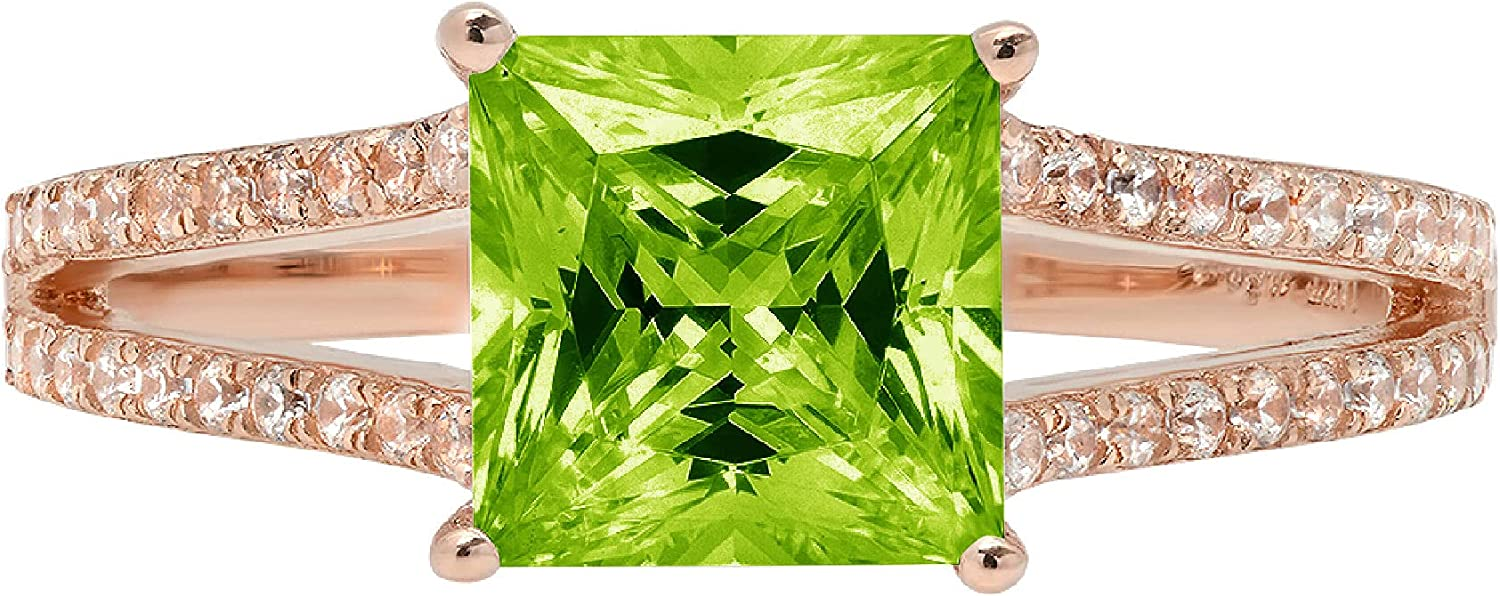 2.39ct Princess Phoenix Max 83% OFF Mall Cut Solitaire with Accent Flawless shank split G
