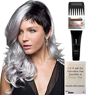 Bundle - 5 Items: Bennett Wig by Rene of Paris, Christy's Wigs Q & A Booklet, 2oz Travel Size Wig Shampoo, Wig Cap & Wide Tooth Comb - Color: MARBLE BROWN-LR
