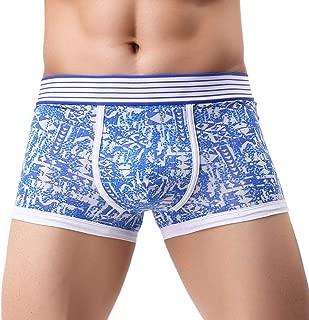 Stylish Men Print Underwear Boxer Briefs Pouch Bulge Splice Stripe Bikini Shorts Underpants