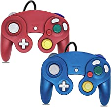 Gamecube Controller, 2 Pack Classic Wired Controller for Wii Nintendo Gamecube (Blue & Red)