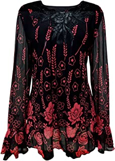 b3d91b9b90fba Yitonglian Womens Plus Size Applique Crochet V Neck Long Sleeve Vintage  Floral Loose Tunic Tops Shirt