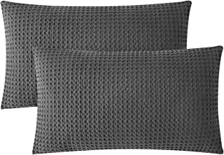 PHF Throw Pillow Cover Pack of 2 Cotton Waffle Weave Rectangle Decorative for Couch Sofa Bed 12