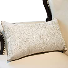 Hahadidi Throw Pillow Covers for Couch/Bed/Sofa Home Decorative Cushion Cases Flower Crewel Embroidery Pillowcases,Nature Color,14 x 24 Inch(35x60cm)