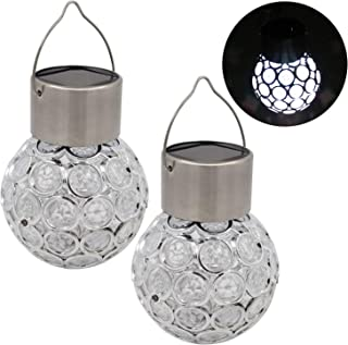 DSDecor 2 Pack Solar Ball Lights Outdoor Hanging Crystal Ball Lights Waterproof Solar LED Light for Indoor Outdoor Garden ...
