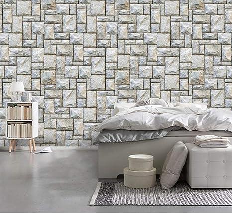 Amazon Com Eukmuij 3d Wallpaper Walls Modern Minimalist Abstract Stone Wall Brick Wall Home Kitchen