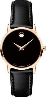Women's Museum Rose Gold Watch with a Concave Dot Museum Dial, Gold/Black Strap (607276)
