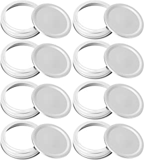 Foaynn Mason Jars Canning Jar Lids Wide Mouth Rings Split-Type Lids with Silver Metal Airtight Lids Mason Jar Lids and Ban...