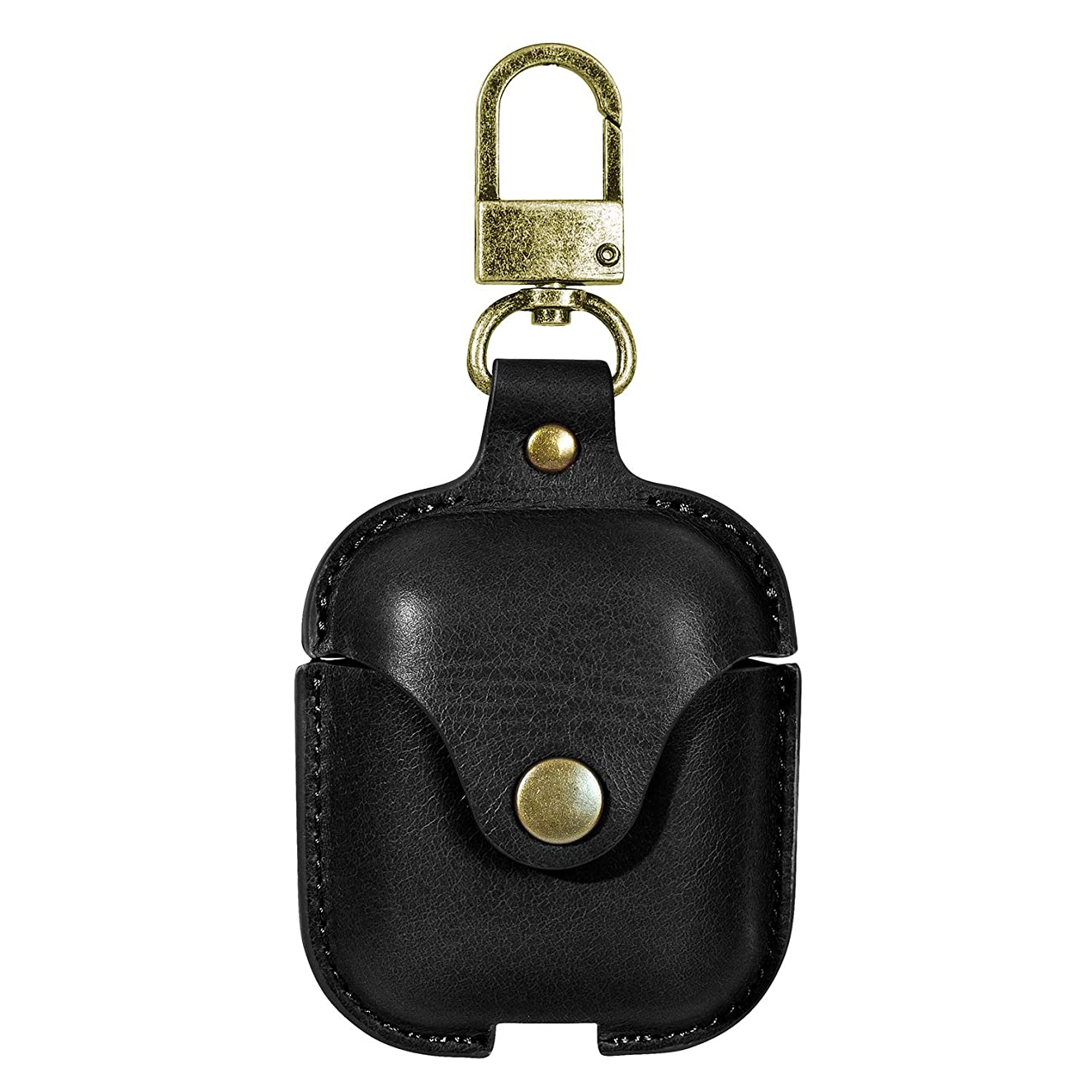何筋肉の海外でAODUKE 天然皮AirPods保護カバー、天然牛皮AirPods小袋フック付き、耐用、振動防止、同期性、充電性が良い、 AirPodsのために特にデザインされた、保護ピーターのために (黒)