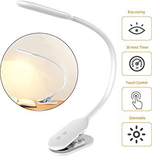 LED Desk Lamp, Rechargeable Clip On Light Reading Light with 360°Flexible Swing Arm,30 mins Timer,Clamp Book Light with Eye-Caring Dimmable Light, Touch Switch Table Lamps for Kids,Room,Office,School
