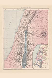 Palestine with The Twelve Tribes of Israel Historical Antique Style Map Cool Huge Large Giant Poster Art 36x54