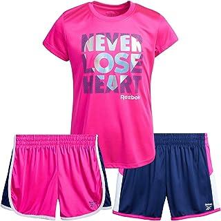 Reebok Girls' Activewear Set - Short Sleeve Performance T-Shirt and Gym Shorts Kids Clothing Set (3 Piece)