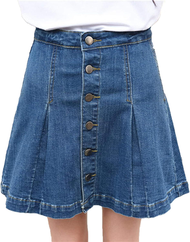 Flygo Women's Casual High Waist Button Front A-Line Pleated Denim Mini Skirt