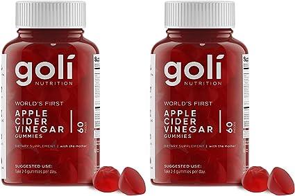 "Goli Nutrition Apple Cider Vinegar Gummy Vitamins 60 Count - 2 Pack - Organic Vegan Gluten Free Non GMO with ""The Mother"""