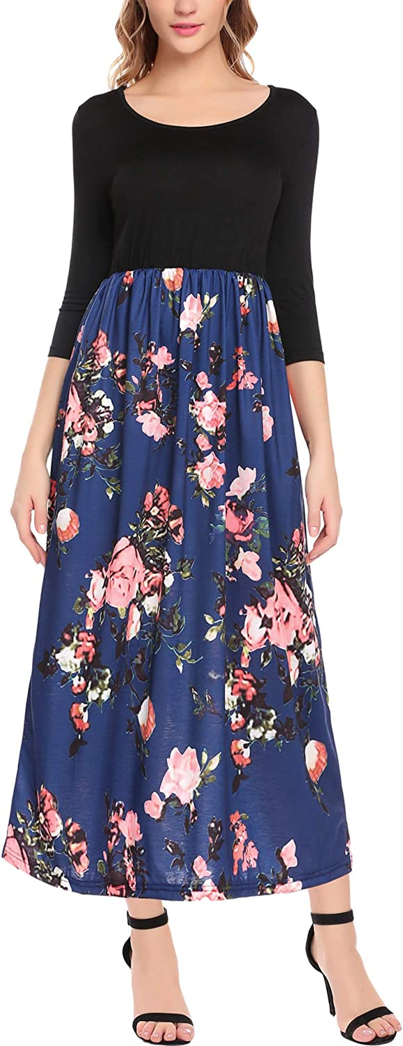 ELESOL Women's Maxi Dress Floral Printed 3 4 Sleeve Casual Long Dress