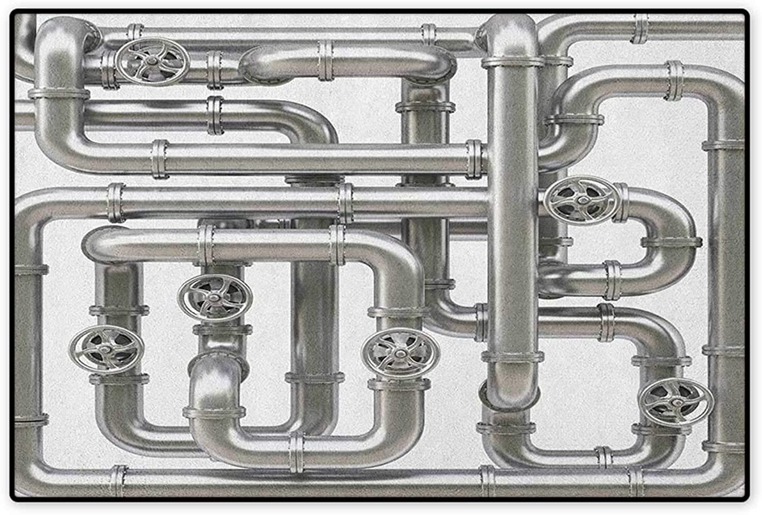 Industrial,Door Mat Indoors,Maze of Pipelines Faucets and Valve Gasoline Engineering Themed Print,Indoors Doorroom Mats Non Slip,Silver and White,Size,32 x48  (W80cm x L120cm)