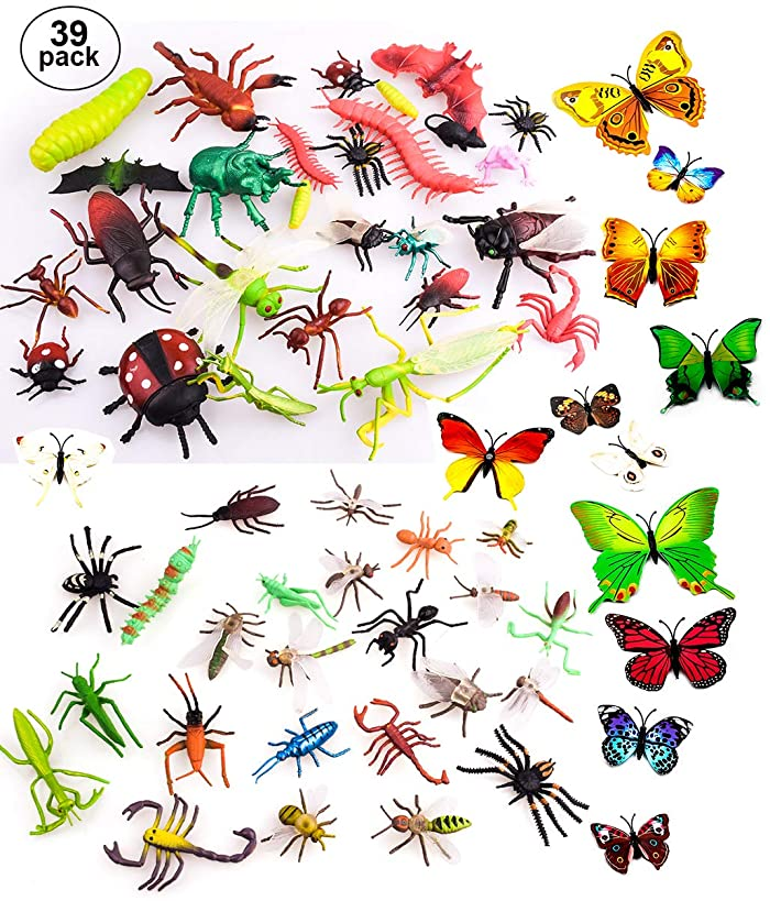 """OOTSR 39pcs Bug Toy Figures for Kids Boys, 2-6"""" Fake Bugs - Fake Spiders, Cockroaches, Scorpions, Crickets, Lady Bugs, Butterflies and Worms for Education and Christmas Party Favors"""