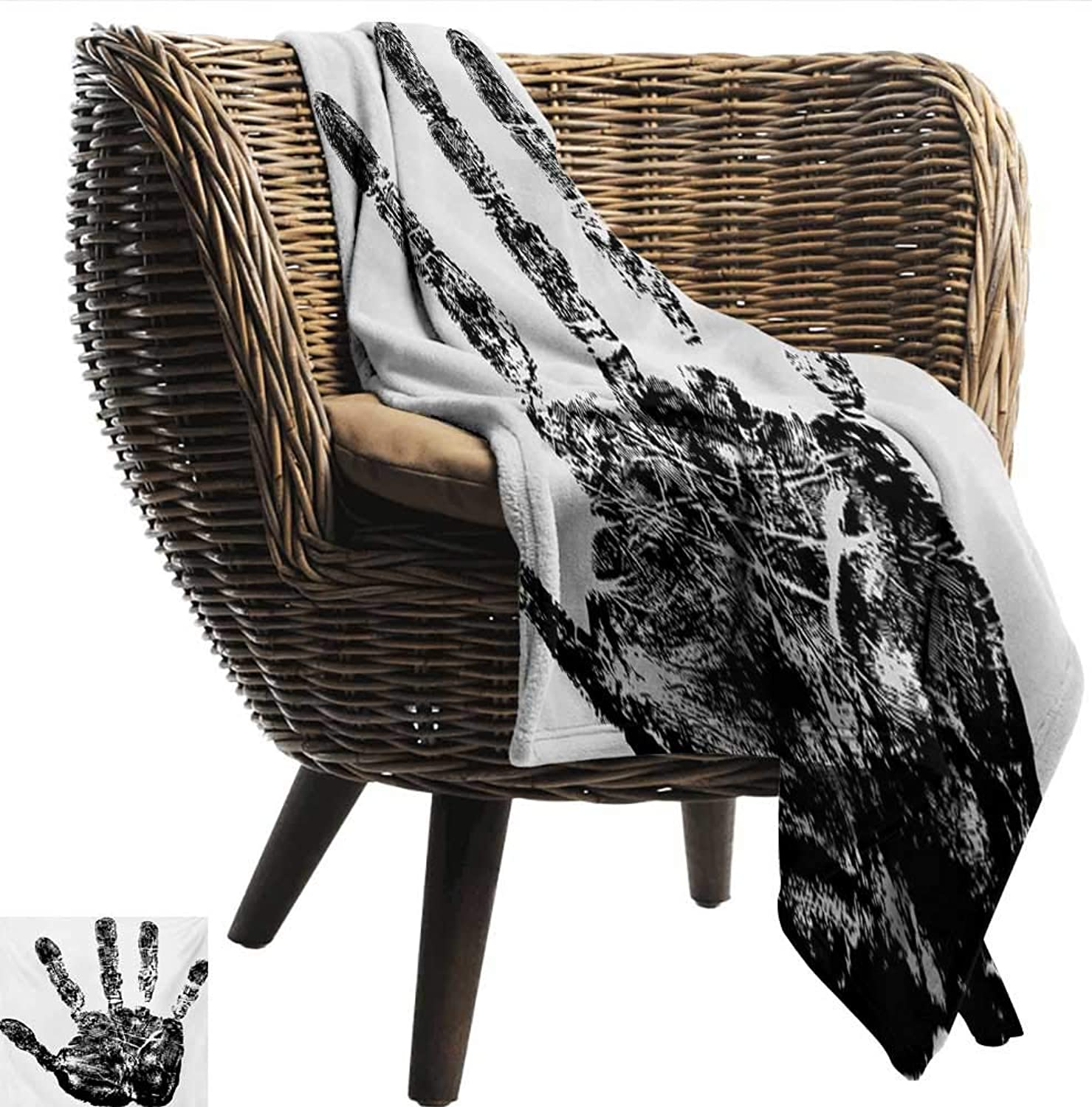 Travel Throwing Blanket Modern Hand Print with Human Fingers in Grunge Motley Stylized Identity Stamp Touch Display Print Summer Quilt Comforter W60 xL51 Sofa,Picnic,Camping,Beach,Everyday use
