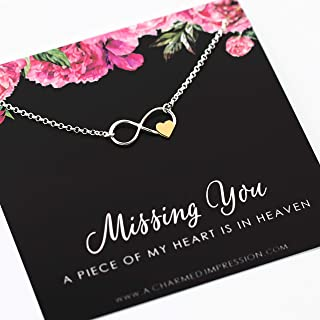 Memorial Gift for Loss of Loved One • Infinite Love Necklace • 925 Sterling Silver • In Memory of • Subtle Sympathy Gift • A Piece of My Heart is in Heaven