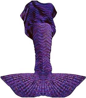 Fu Store Mermaid Tail Blanket Crochet Mermaid Blanket for Adult Teens, Super Soft All..