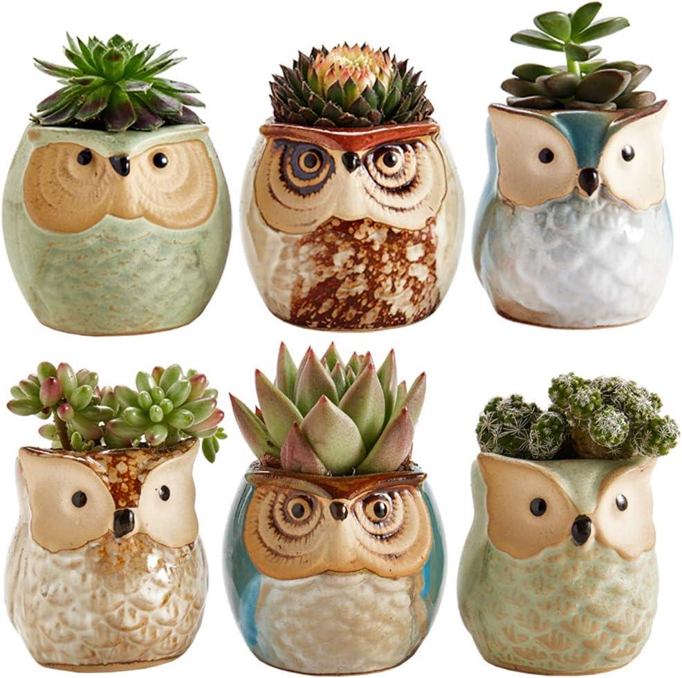 Ceramic Brown Drip Glaze Owl Planter *Boho Decor *Succulent Planter *Retro Flower Pot *Pottery