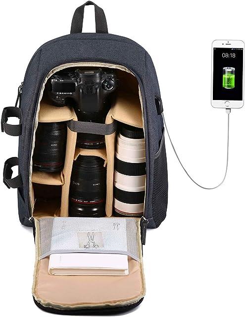 Selighting Mochila Fotográfica Multifunción y Impermeable para Cámaras Réflex Digital SLR Lentes Trípode Flash Laptop Portátil Canon Nikon Sony Drone y Accesorios
