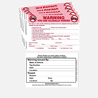 Parking Violation Sticker - Vehicle Illegally Parked Tow Notice - Parking Violation Notice - No Parking Warning Stickers - 5.5 x 7.5 Hard to Remove Stickers - Pack of 50 (2 Booklets 25 Each)