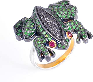 925 Sterling Silver Frog Ring With Prosperity Tsavorite And 0.32 Carat Brown Natural Diamond (I2-I3 Clarity ) For Women