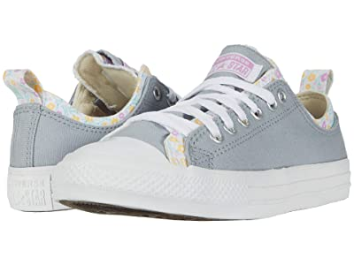 Converse Kids Chuck Taylor(r) All Star(r) Double Upper Floral Print (Little Kid/Big Kid) (Wolf Grey/Peony Pink/White) Girl