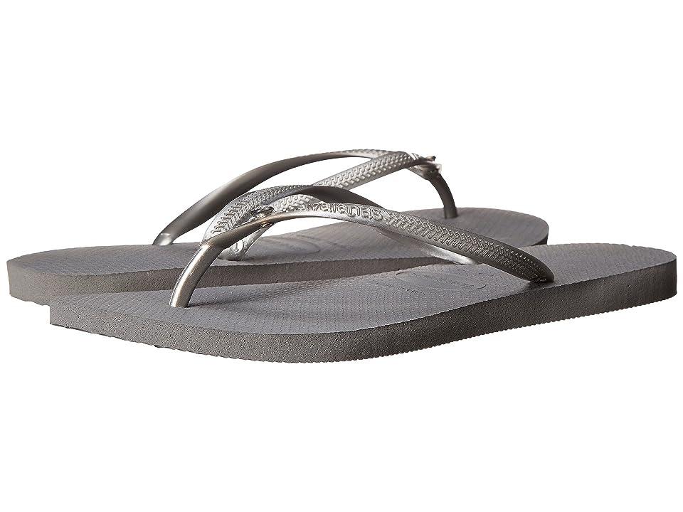 Havaianas Slim Crystal Glamour SW Flip Flops (Steel Grey) Women