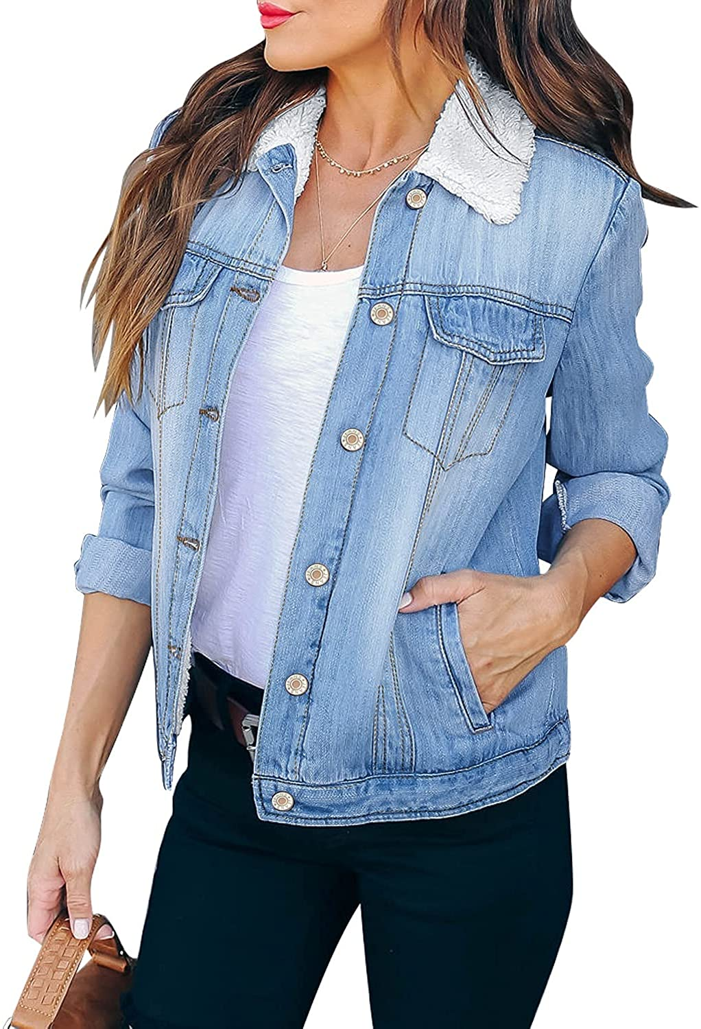 luvamia Women's Basic Button Down Stretch Fitted Long Sleeves Denim Jean Jacket