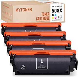MYTONER Compatible Toner Cartridge Replacement for HP 508X CF360X CF361X CF362X CF363X for Color Laserjet M553 M553dn M577dn M577f M577z M553n M577c M552dn M553x (Black Cyan Magenta Yellow, 4-Pack)