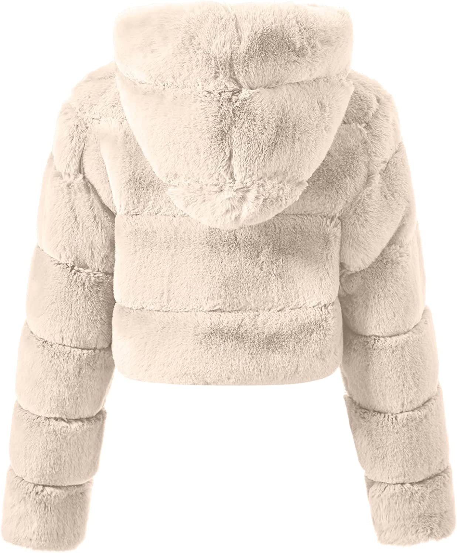 Rovga Women Faux Fur Cropped Coat Jackets Luxury Solid Fur Short Stitching Vintage Parka Shaggy Jacket Warm Coat Tops