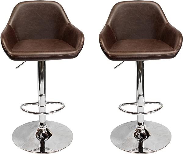 Best Master Furniture HY6334 Henri Vintage Brown Adjustable Bar Stool Set Of 2