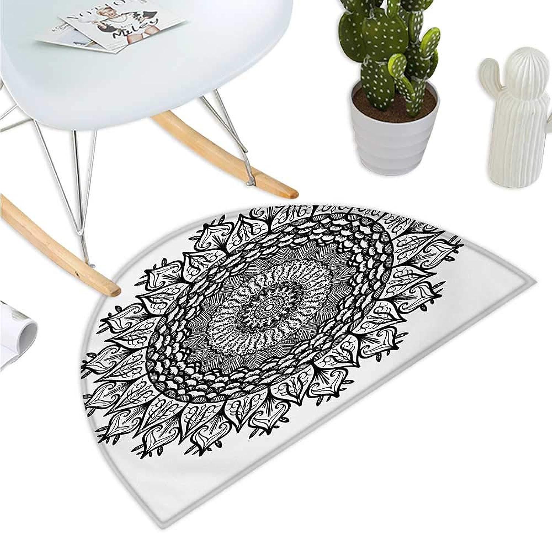 Lotus Half Round Door mats Arabesque Mandala with Flower Effects Oriental Folk Boho Sacred Artful Illustration Bathroom Mat H 35.4  xD 53.1  Black White