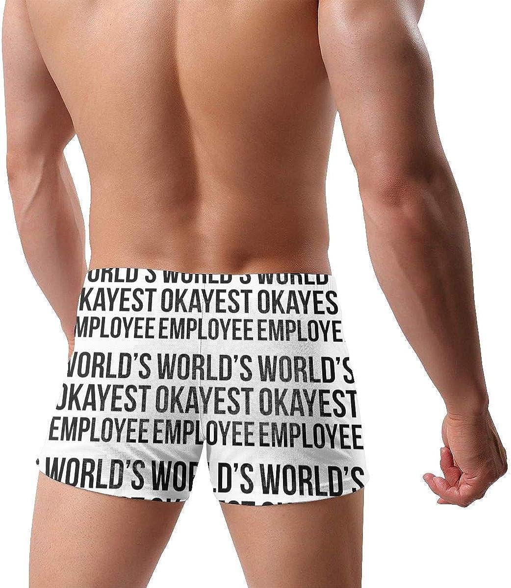 World's Okayest Employee Men's Swimming Trunks Fitness Swimwear Boxer Pants Board Shorts