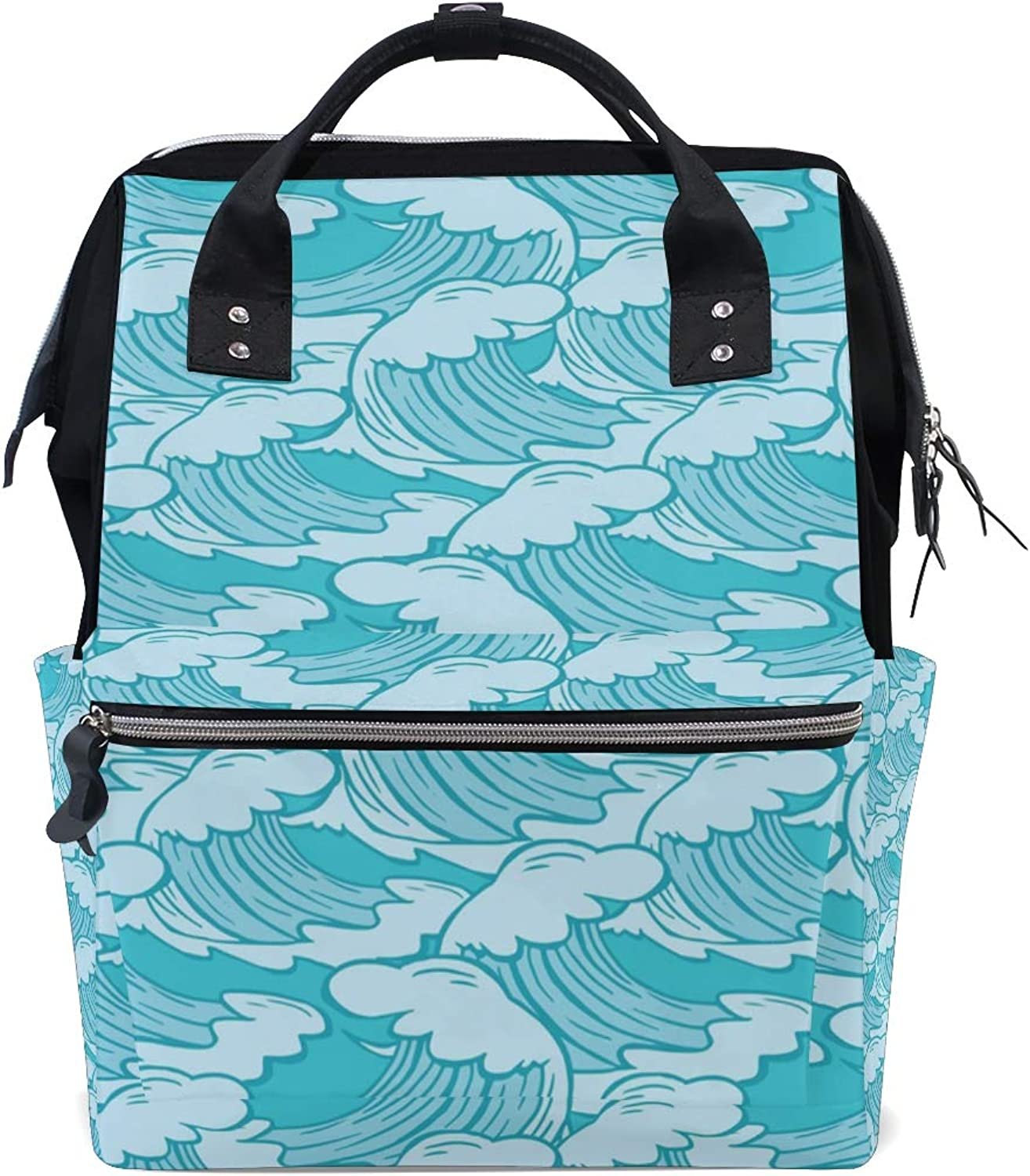 MONTOJ Hand Painted Sea Wave Pattern Canvas Travel Bag Campus Backpack